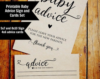 Baby Advice Cards, Printable Advice Sign and Advice Cards, Baby Shower Printable, Instant Download, 5x7, 8x10 Sign & Printable Advice Cards