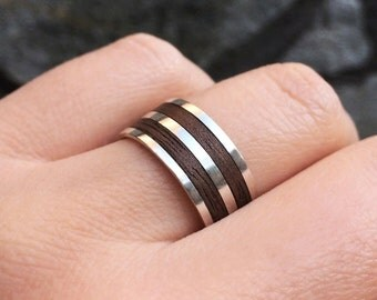 Wood Wedding Band Ring in Sterling Silver Metal, Silver and Wooden Ring, Wood Jewelry, Man Ring, Silver and Wood Ring, Wooden Band Ring