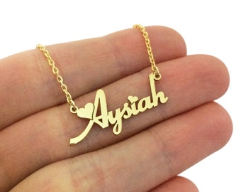 Personalized Name Necklace, Heart Name Necklace, Nameplate Necklace, Silver Name Necklace, Gold Name Necklace, Valentines Day Gift