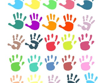Colorful Hand-Prints Clip Arts Collection, Kids, Paint, Color, Playing, Fun