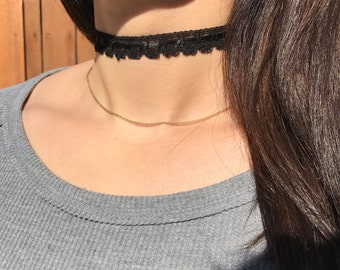 Black Delicate Choker Necklace