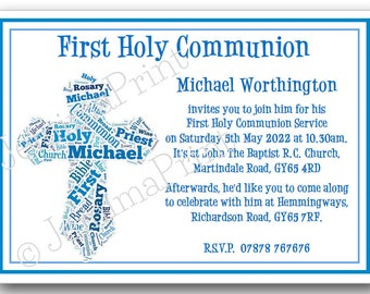 Printed Personalised Boys Cross First Holy Communion invitations word art word cloud  x10 with envelopes