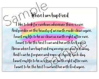 DIGITAL Rainbow Baptism Lds Instant Download Card Sign When I am Baptized I like to look for Rainbows Primary Sharing time Decoration gift