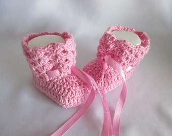 Warm booties baby shoes pink with Merino 10 cm foot ~ size 16/17