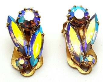 Aurora Borealis Rhinestone Clip on Earrings Retro Vintage clip-on Gold tone Rainbow Marquise Cut gemstones