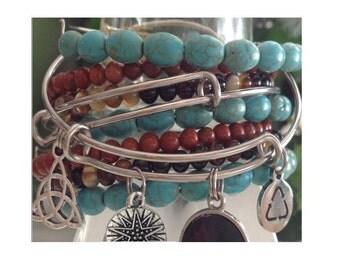Beaded Bangles - Expandable Memory Wire - Stacking Bangle Bracelets - Crystal Beaded Bangle - Gemstone Beads