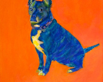 HER PURPOSE ~ PHOEBE art print wall art giclee dog contemporary art rescue dog fun colorful affordable baby kids nursery girlpower tween