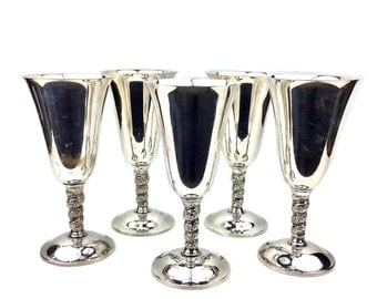 Set of 5 Spanish Silver Plate Decorative Wine Goblets with Bernini Twisting & Embossed Stems made in Spain