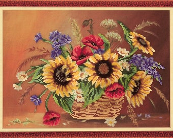 "Bead Embroidery Kit DIY Bouquet Sunflowers 9.8""x14.5"" Color Canvas Bead Set Needle Guide Beginners"