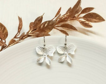 Silver Orchid Flower Earrings, Simple Orchid Earrings, Silver Wedding, Bridal, Bridesmaid, Mom, Gift for Her