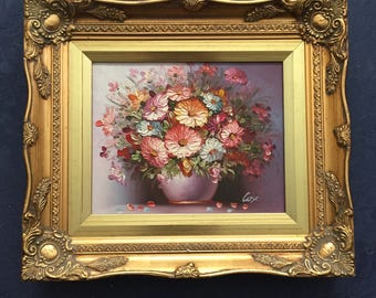 robert cox floral still life oil painting gold gilded frame