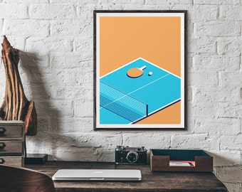 Table Tennis Minimal Isometric Ping Pong Poster Art Print