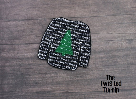 In The Hoop Cute Ugly Christmas Sweater Coaster Embroidery Design Designs File Felt Instant Download 4x4 Hoop