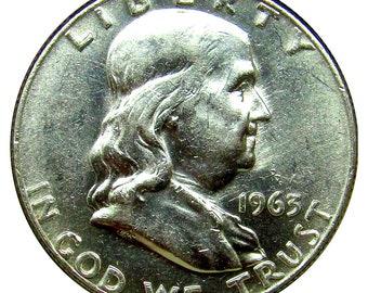 1963 D Franklin Half Dollar - BU / MS / Unc - Luster