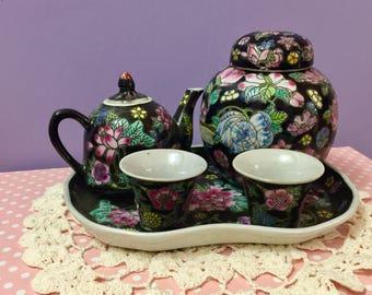Vintage Chinese Black Floral Children's Tea Set, Chinese Miniature Tea Set, Vintage Asian Decor, Vintage Asian Kitchen Accessories