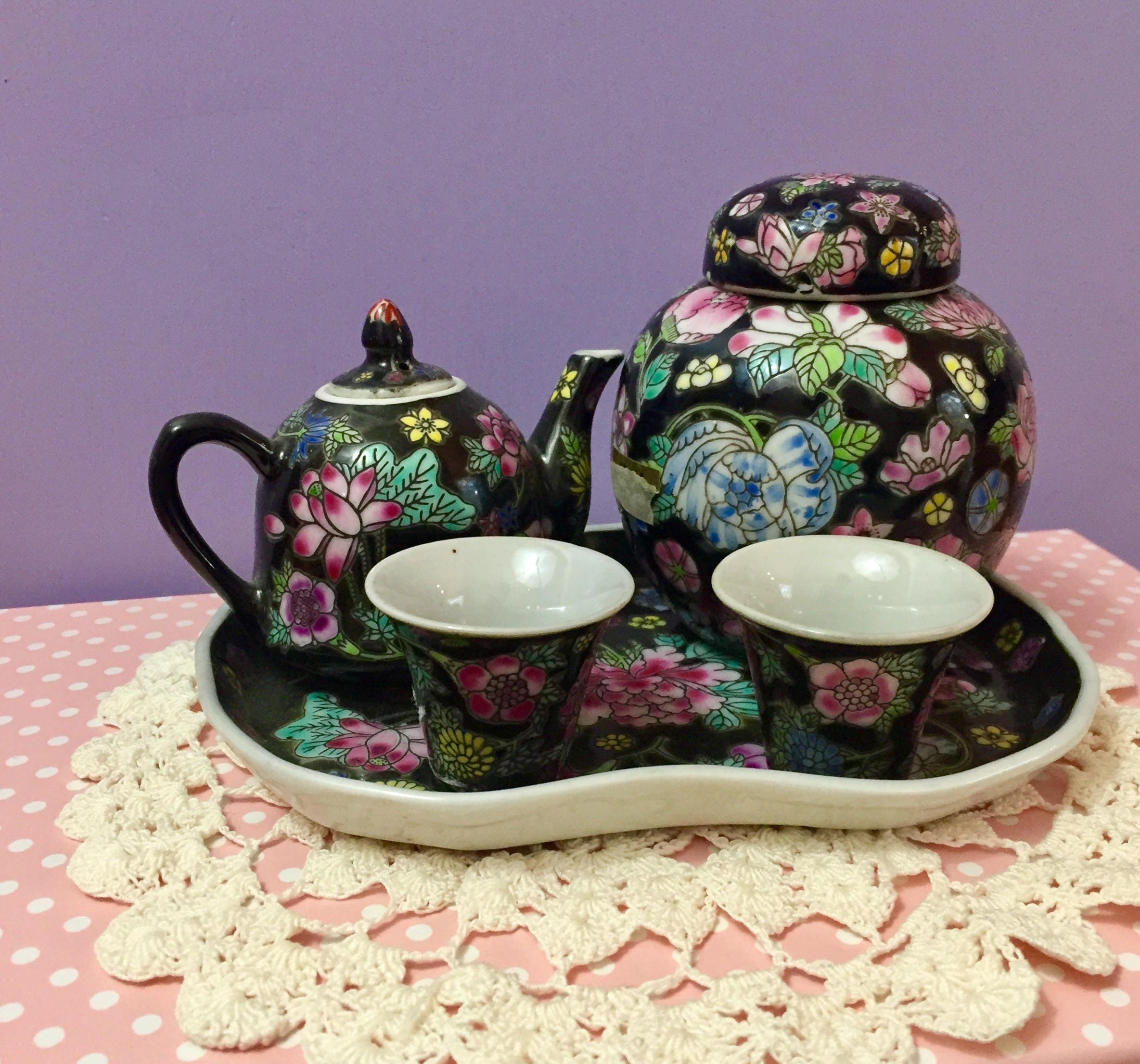 Vintage Chinese Black Floral Children's Tea Set, Chinese