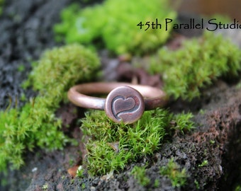 Hand Stamped Heart Copper Ring, Valentines Gift, Girlfriend Ring, Heart Jewelry, Stamped Ring, Rustic Copper Ring, Stamped Copper Jewelry