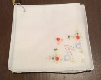 Vintage embroidered white napkins-tea-dessert-excellent condition-flowers-green-red-pink-blue