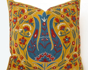 Silk Hand Embroidered Suzani Pillow Cover, suzani pillow, pillow cover, yellow pillow, yellow throw pillow , yellow decorative pillow
