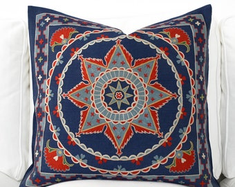 Silk Hand Embroidered Pillow suzani cushion decorative suzani embroidered pillow handmade suzani floral bohemian chic decor navy blue red