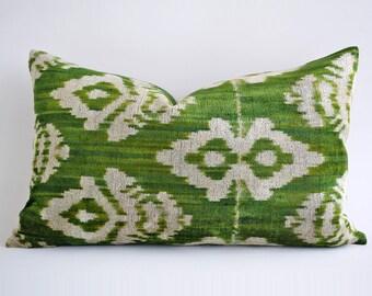 SALE Handwoven Silk Lumbar Pillow Cover Ikat Velvet Pillow Cover  Green Velvet Pillow Boho ikat Pillow Green Velvet ikat Cushion Green White