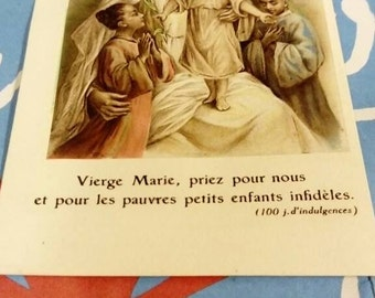 Religious map. Virgin Mary. 1930 1930s. Vintage. Collection. french religious card.