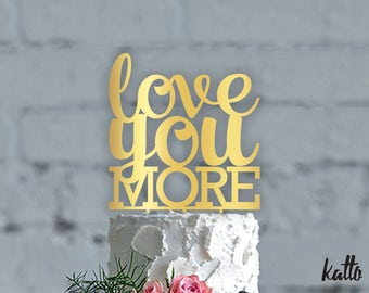 Wedding cake topper- love you more wedding cake topper- Personalized cake topper- Personalized wedding Cake Topper- Wedding Cups cake topper