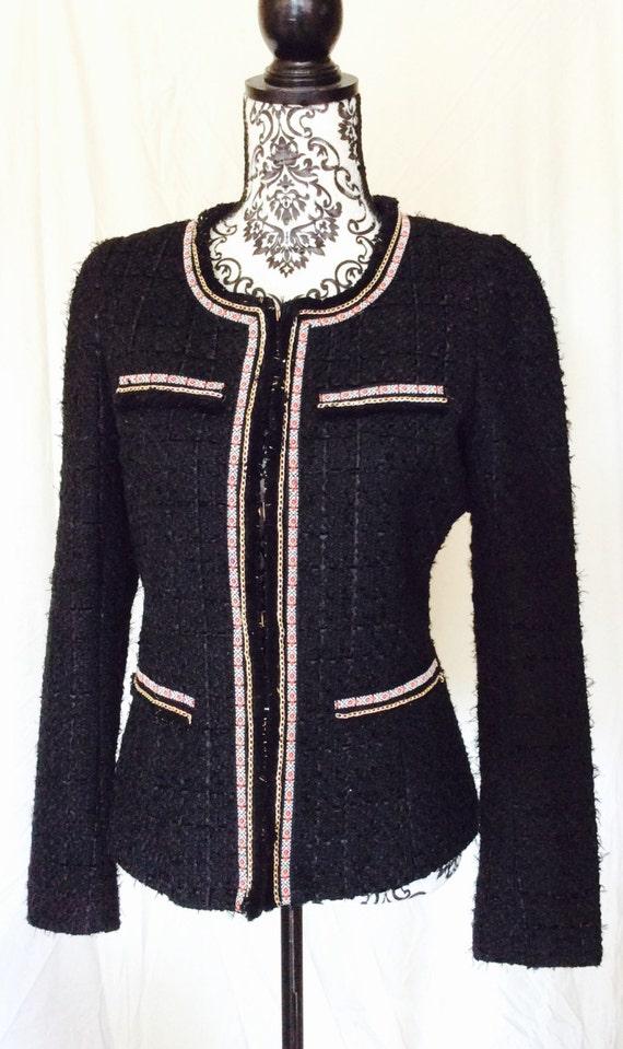 Boucle Jacket. Chanel Style Jacket. Black Jacket. Black