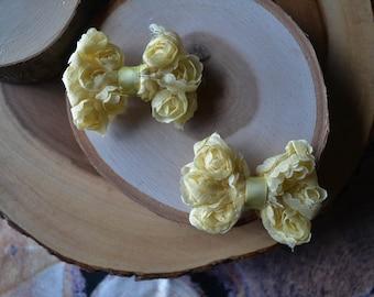 Yellow rosette bow piggy tail set