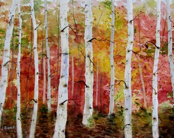 Birch tree painting aspens abstract painting original watercolor silver birches 11x15