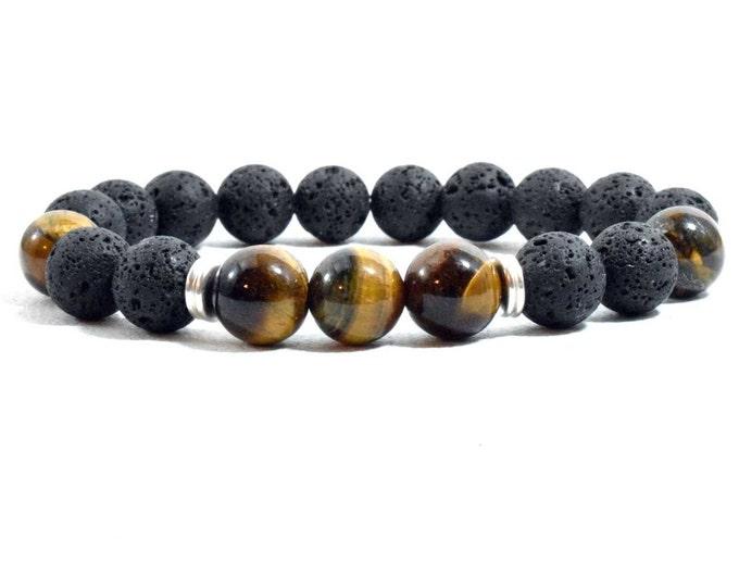 Unisex Bracelet with Tiger Eye and Black Lava beads.