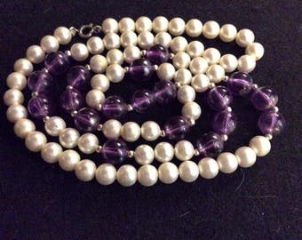 Faux Amethyst and Pearl Beaded Necklace