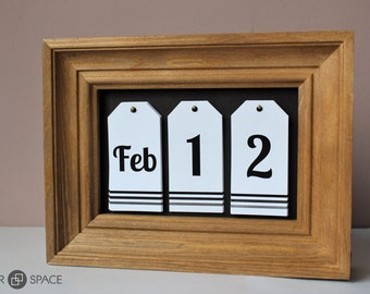 desk calendar wooden frame christmas gift house warming gift natural materials ready to ship