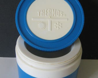 Thermos Insulated Jar Blue #1155/3 Norwich, Conn USA 8 oz King Seeley