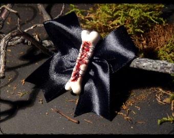 Sewn bone hair clip
