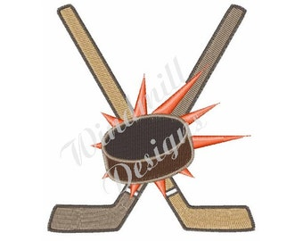 Hockey Sticks and Puck - Machine Embroidery Design