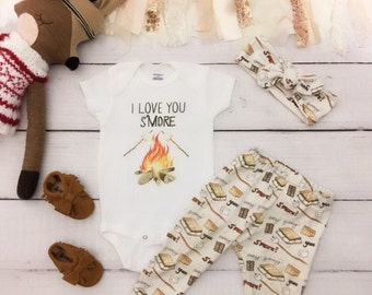 I Love You S'more Onesie®, funny campfire onesie, camping onesie, adventure onesie, s'more onesie, camp onesie, food Onesie, campfire outfit