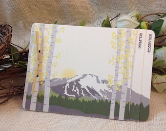 Pikes Peak // Colorado Wedding Invitation // 3pg Booklet Livret Invite with Perforated RSVP Postcard and Envelopes