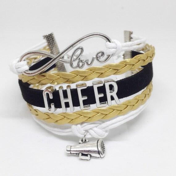 Cheer Charm Bracelets: Gold Cheer Bracelet Cheer Jewelry Cheerleading By