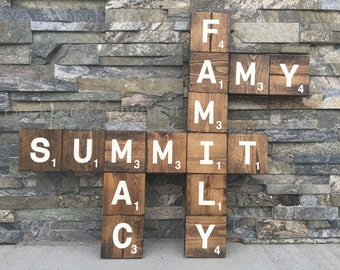 Family Crossword Sign  - Wood sign - sign - farmhouse - cottage chic - rustic - home decor - decor
