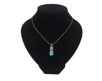 Handmade little gem vial necklace (blue)