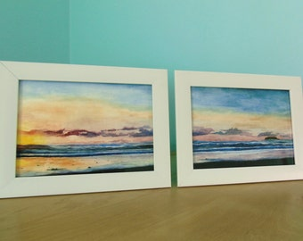 Ocean Sunset Original Watercolor Set of Two Paintings, Two 5x7 Framed Seascape Paintings