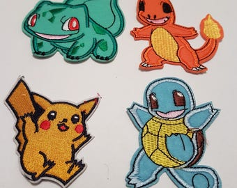 Pokemon Iron On Patch Pikachu Bulbasaur Charmander Squirtle pack of 4 Iron on Patches