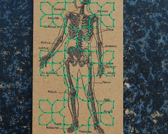 Bookmark embroidered green on skeleton - bookmark