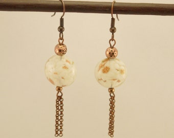 Earrings gold, copper and white spotted glass bead, copper metal