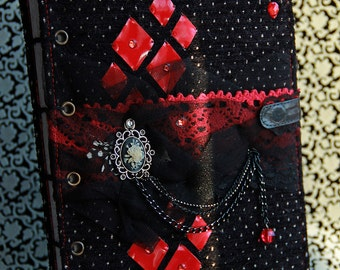 "Gothic Journal, Blank Notebook, Diary A5 ""Royal Gothic"", Coptic stitch journal READY TO SHIP"