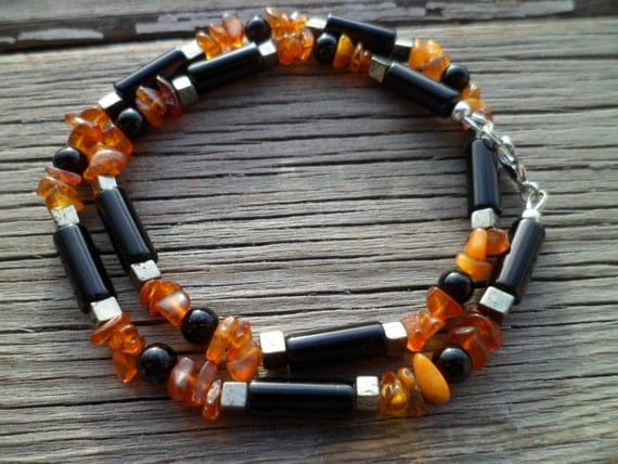 Natural Stones Black Onyx,  Baltic Amber and  Gray Pyrite Natural Stone Beaded Mens Necklace, Ethnic Necklace, Ethnic Necklace, Gift for Men