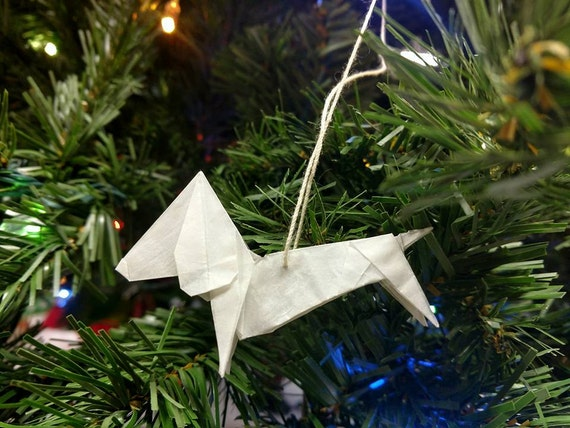 Origami Dachshund// Christmas // Ornament // Rear View mirror // Accessories // Stocking Stuffer