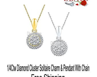 """0.25Ctw Diamonds Cluster Solitaire Charm & Pendant With Chain 18"""" Free Shipping By Dbayzcom"""