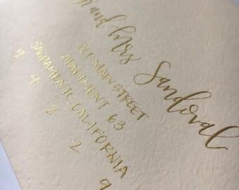 Gold Custom Handwritten Calligraphy Envelope Addressing